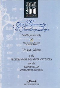 Jewellex 2000 award certificate