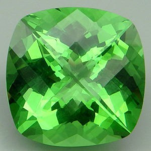 17.7ct cushion apple green amethyst