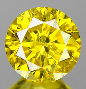 Irradiated fancy yellow diamond